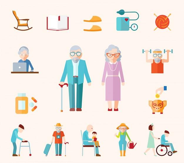 Senior levensstijl plat pictogrammen Gratis Vector