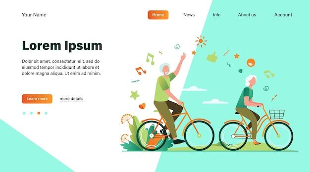Senior man en vrouw fietsen in stadspark. happy cartoon oude familie paar genieten van buitenactiviteiten. vectorillustratie voor pensioen, actieve levensstijl, leeftijd, relatieconcept Gratis Vector