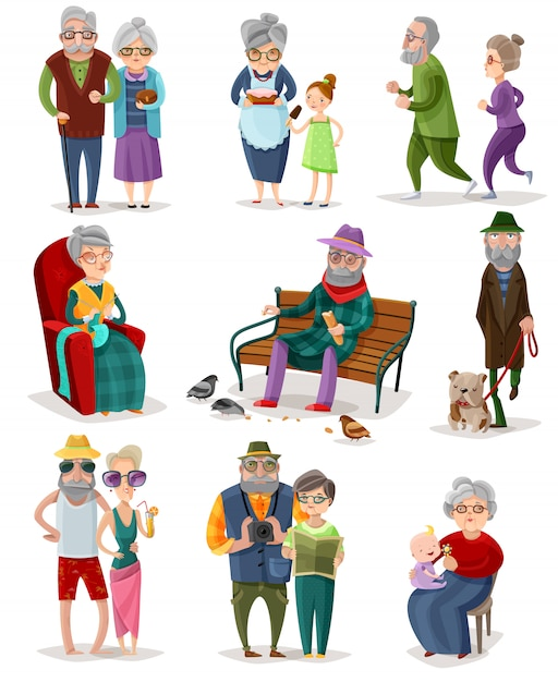 Senior mensen cartoon set Gratis Vector