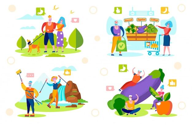 Senior mensen gezonde levensstijl. wandelen, eco food Premium Vector