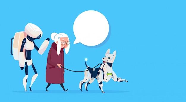 Senior vrouw lopen met robots dog chat bubble moderne grootmoeder lady Premium Vector