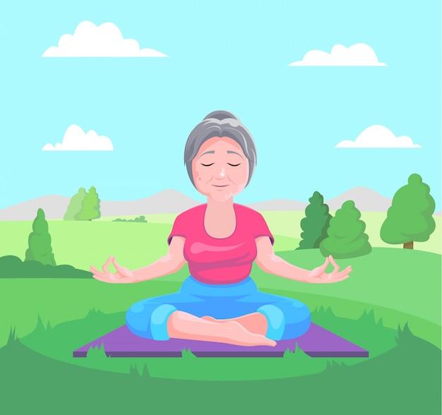 Senior vrouw mediteert zittend op tapijt Premium Vector