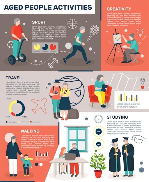 Senioren blijven actief infographics Gratis Vector