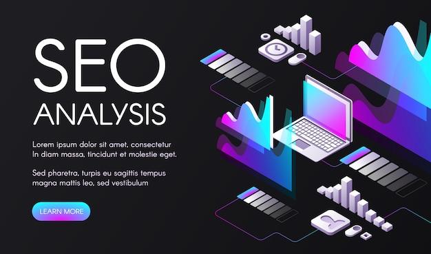 Seo-analyseillustratie van zoekmachineoptimalisering in digitale marketing. Gratis Vector