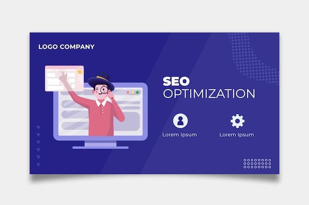Seo banner sjabloonontwerp Premium Vector