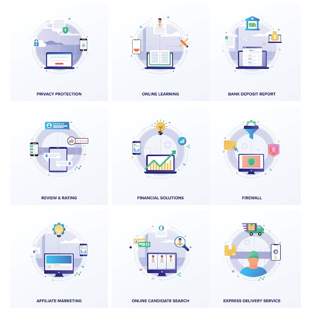 Seo business flat illustraties-pakket Premium Vector