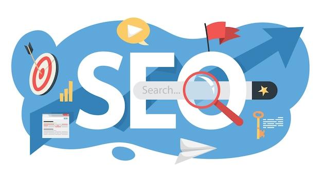 Seo-concept. idee van zoekmachineoptimalisatie voor website als marketingstrategie. promotie van webpagina's op internet. illustratie Premium Vector