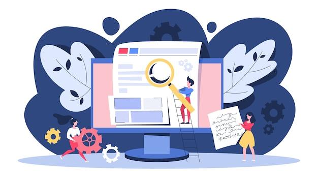 Seo-concept. idee van zoekmachineoptimalisatie voor website Premium Vector