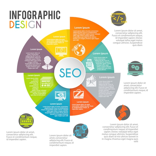 Seo internet marketing infographics Gratis Vector