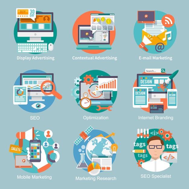 Seo internet marketing platte pictogram Gratis Vector
