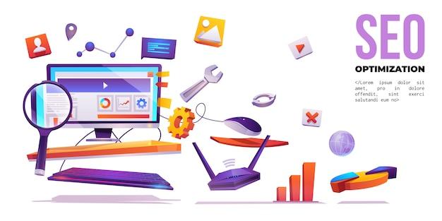 Seo-optimalisatie, internetwebmarketingbanner Gratis Vector