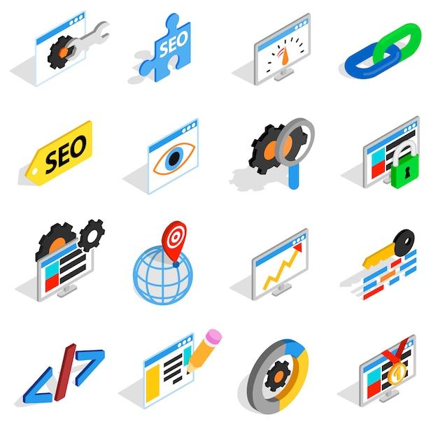 Seo-pictogrammen in isometrische 3d stijl worden geplaatst die. web vastgestelde inzameling geïsoleerde vectorillustratie Premium Vector