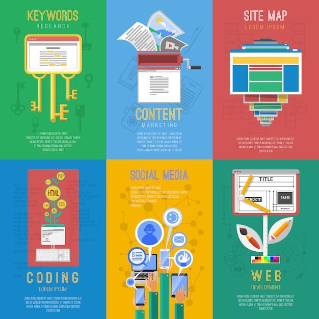 Seo plat pictogrammen samenstelling poster Gratis Vector