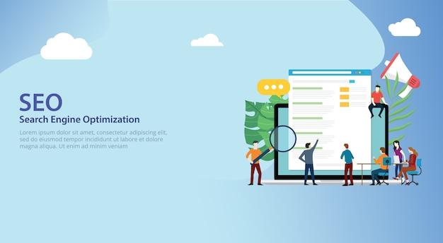 Seo zoekmachine optimalisatie team samen te werken Premium Vector