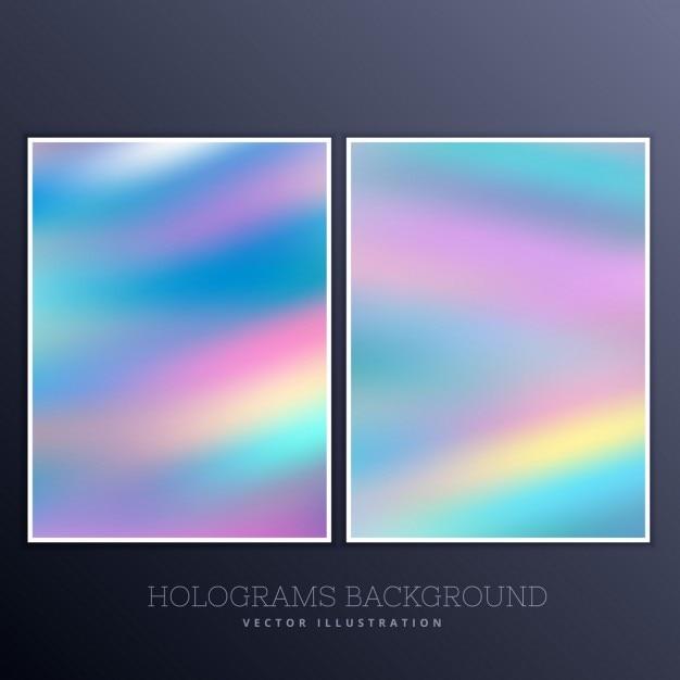 Ser van holografische achtergrond met levendige kleuren Gratis Vector