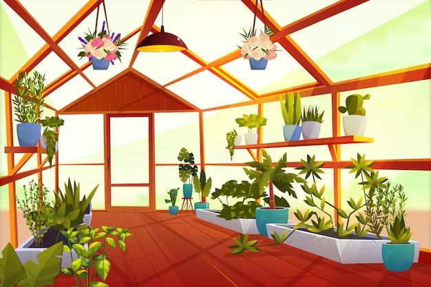 Serrebinnenland met binnen tuin. grote heldere lege oranjerie met glazen wanden Gratis Vector