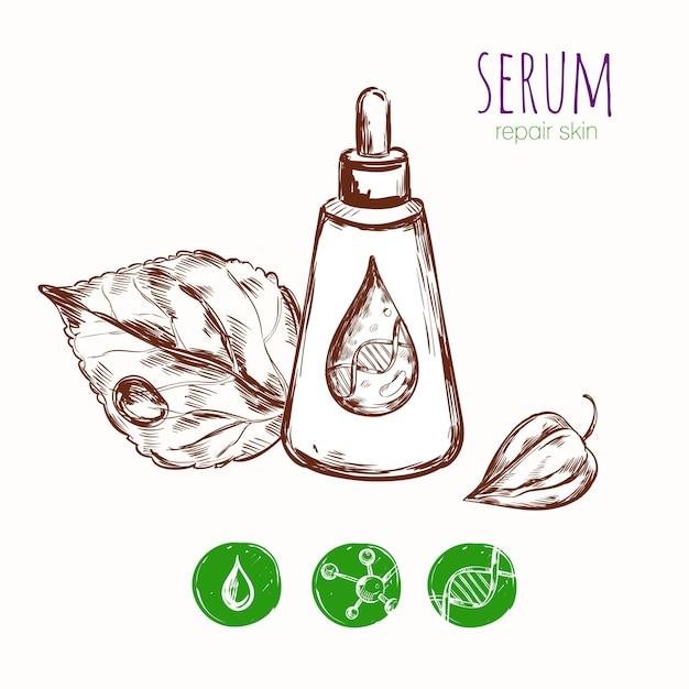 Serum leaf cosmetic concept Gratis Vector