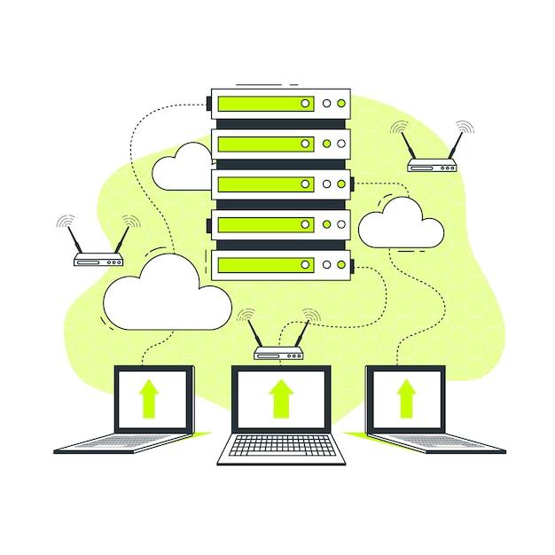Server concept illustratie Gratis Vector