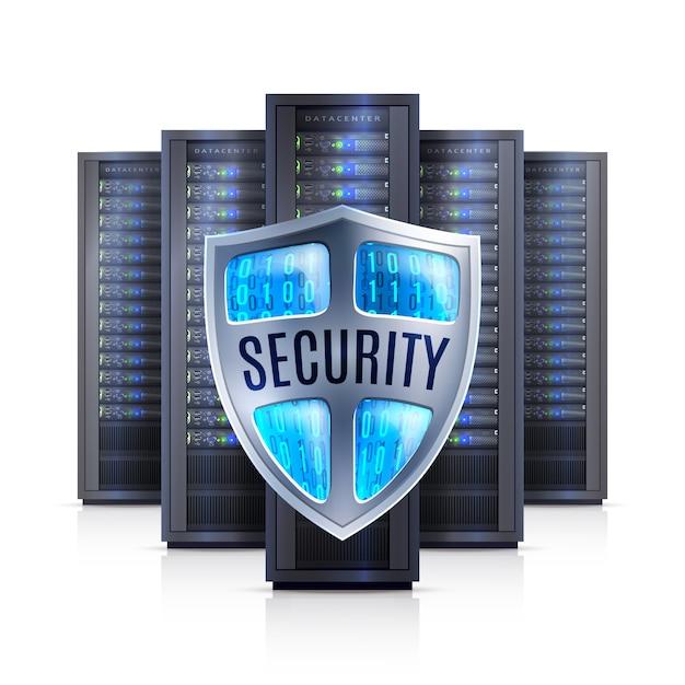 Server rack beveiliging schild realistische illustratie Gratis Vector