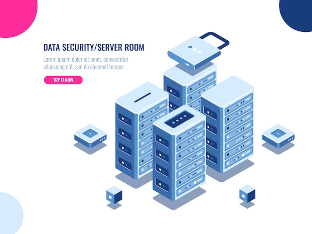 Serverkamerkast, datacenter en database isometrisch pictogram, server rack farm Gratis Vector