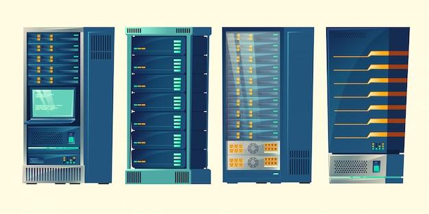 Serverracks, databasekamer, datacenter met cloud-computerverbindingen Gratis Vector