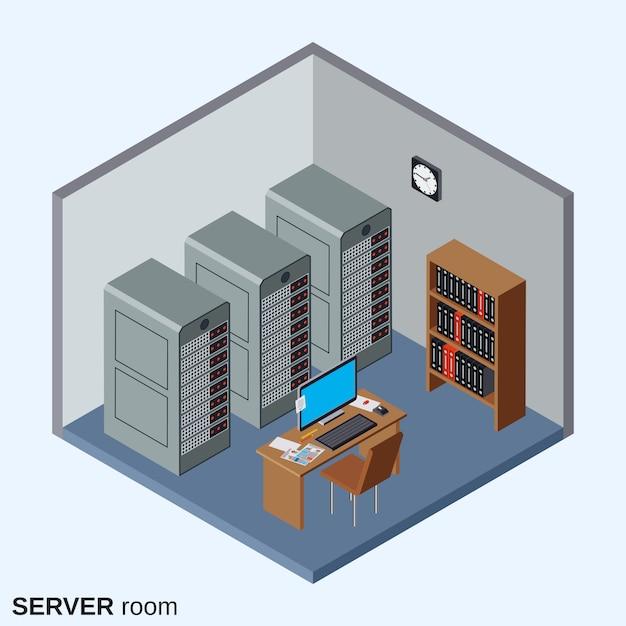Serverruimte, datacenter binnenlandse vlakke isometrische vectorillustratie Premium Vector