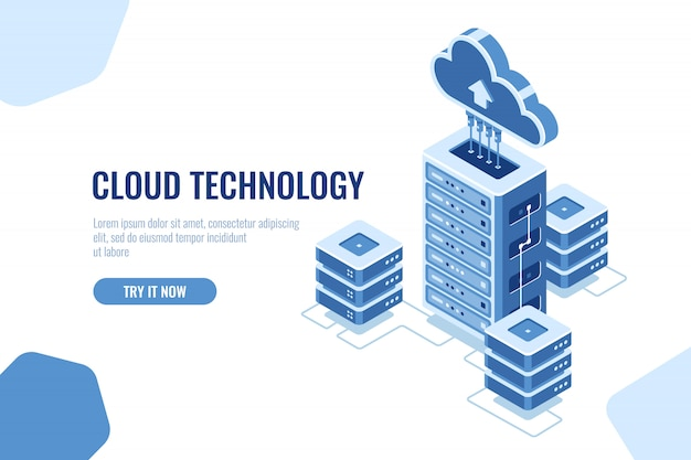 Serverruimte, datacenter isometrisch pictogram, op witte achtergrond, wolkentechnologie gegevensverwerking, gegevensgegevens Gratis Vector
