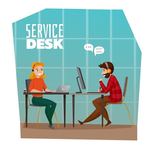 Servicedesk illustratie Gratis Vector