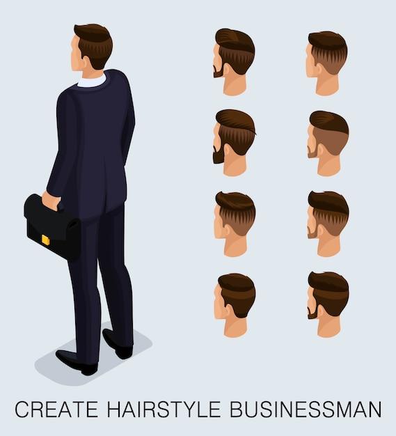 Set 4 trendy isometrische 3d-zakenman Premium Vector