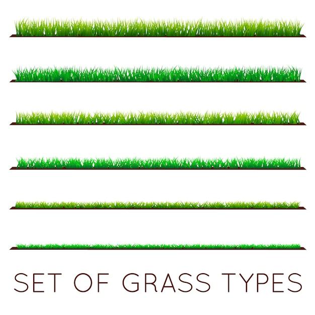 Set achtergronden van groen gras Premium Vector