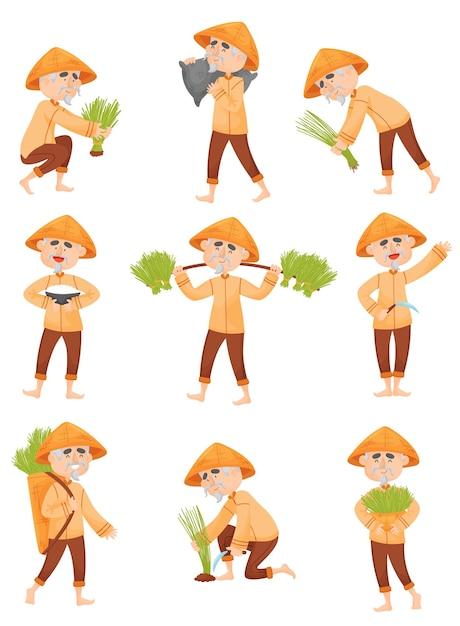 Set afbeeldingen van een man in oranje kleren die rijst verzamelt Premium Vector