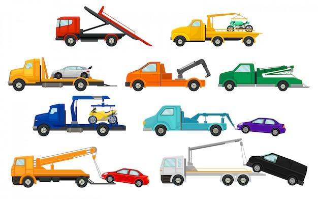 Set afbeeldingen van sleepwagens. Premium Vector