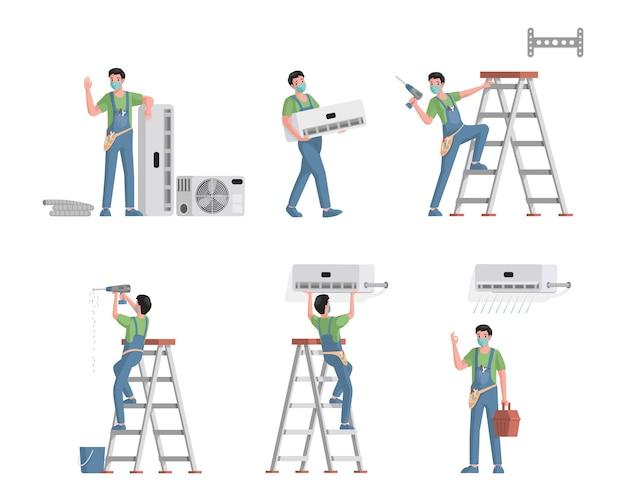 Set airconditioners reparatie en installatie servicemedewerkers. jonge mannelijke personages installeren, repareren van koelsystemen, schoonmaken en vervangen van luchtfilters vlakke afbeelding. Premium Vector