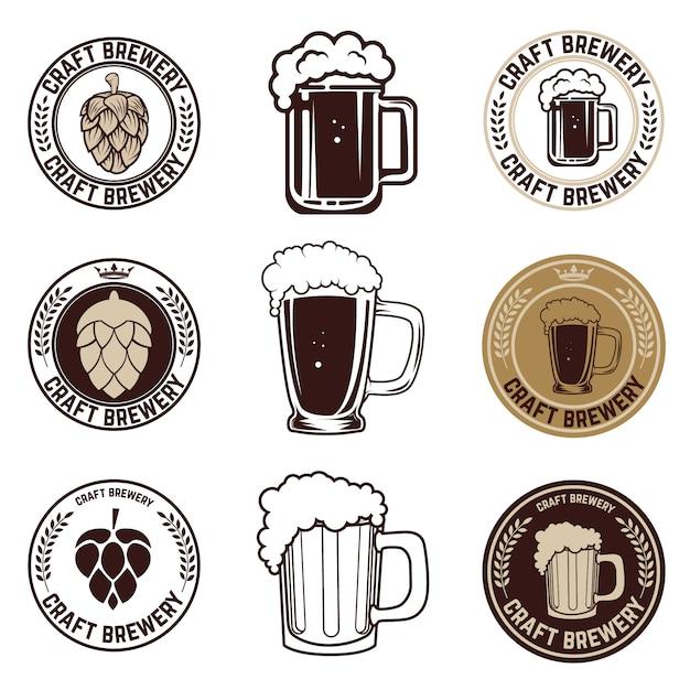 Set ambachtelijke bieretiketten Premium Vector