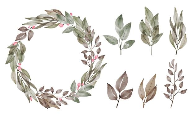 Set aquarel bloem en blad. bloemen beschilderd met waterverf voor groet en uitnodigingskaartdecoratie. Gratis Vector