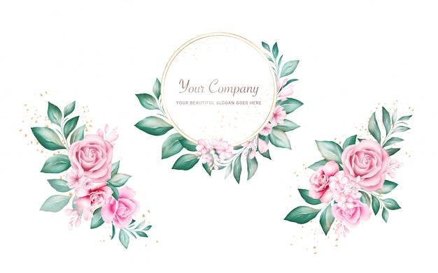 Set aquarel bloemen frame en boeketten voor logo of kaart samenstelling. botanische decoratie illustratie van perzik en rode rozen, bladeren, takken Premium Vector