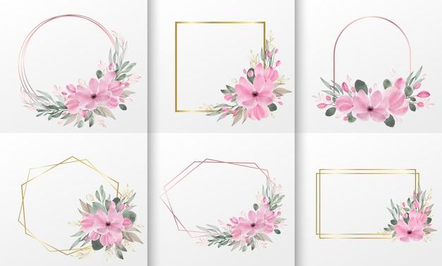 Set aquarel bloemen frame Gratis Vector