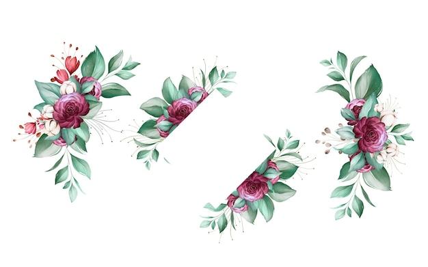 Set aquarel bloemstukken van bruine en bourgondische rozen en bladeren. Premium Vector