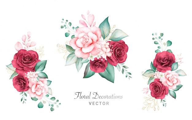 Set aquarel boeketten voor logo of bruiloft kaart samenstelling. botanische decoratie illustratie van perzik en rode rozen, bladeren, takken en gouden glitter Premium Vector