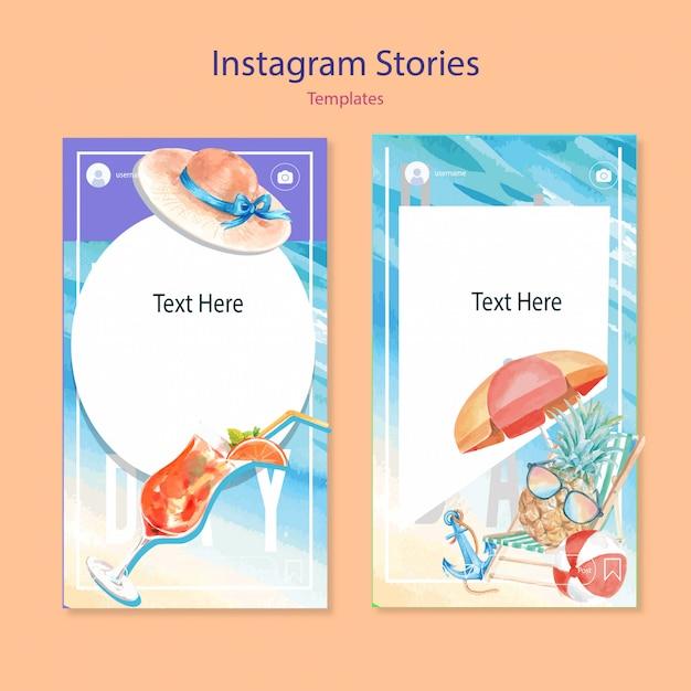 Set aquarel instagram-sjablonen Gratis Vector
