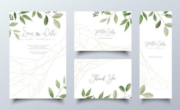 Set aquarel kaarten met groene bladeren Premium Vector