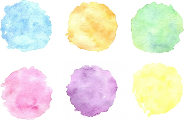 Set aquarel kleurrijke vlekken; hand getekend artistieke illustratie voor uw ontwerp. Premium Vector