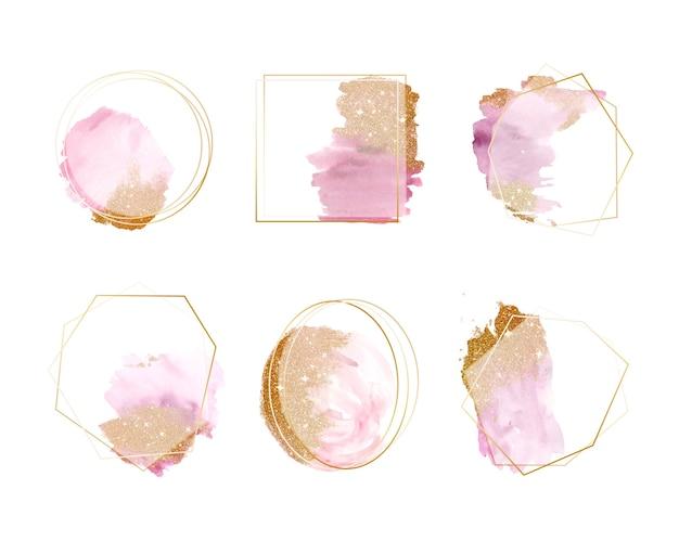 Set aquarel penseelstreken frames Gratis Vector