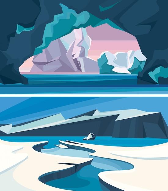 Set arctische landschappen. ijs natuur landschappen. Premium Vector