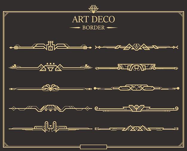 Set art deco gouden kalligrafische scheidingslijnen Premium Vector