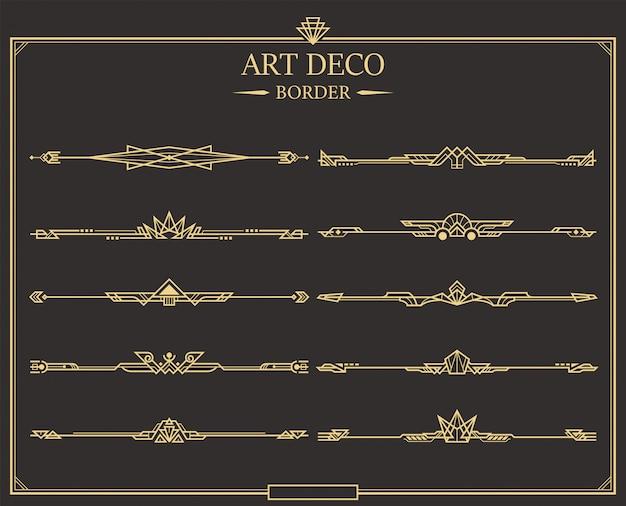 Set art deco gouden kalligrafische scheidingslijnen. Premium Vector