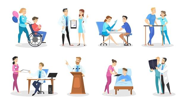 Set arts en verpleegkundige tekens met verschillende poses, gezichtsemoties en gebaren. medicijnmedewerkers praten met patiënten. geïsoleerde vectorillustratie in cartoon stijl Premium Vector