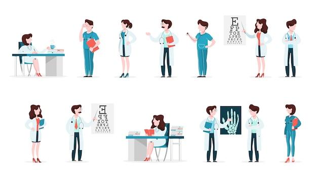 Set arts en verpleegkundige tekens met verschillende poses Premium Vector