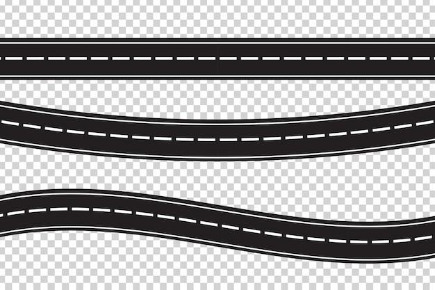 Set asfaltwegen op de transparante achtergrond. concept van logistiek, reis, levering en transport. Premium Vector