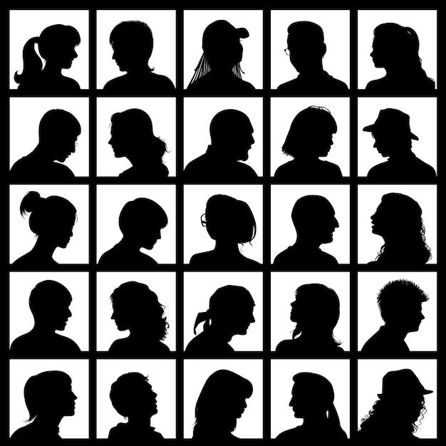 Set avatars met realistische silhouetten van mensen Premium Vector
